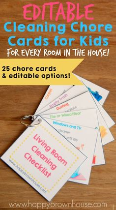 These Cleaning Chore Cards for Kids include everything needed to clean the home with your child's help. Simply print, laminate, and place on a ring for flippable chore task cards. Organize your child's chores with step-by-step task cards and lower mom's nagging. What a lifesaver! Chore Cards, Task Cards, Kids Cards, Take Care Of Yourself, Organize, Your Child, Mom, Cleaning, Ring