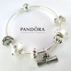 Pandora Bangle Bracelet, Pandora Bracelet, Graduate Theme Bracelet, Sterling Silver, with Charms WG1 by RobinsNestJewels on Etsy