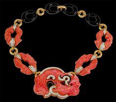 DAVID WEBB Carved Coral,Diamond & Black Enamel Necklace