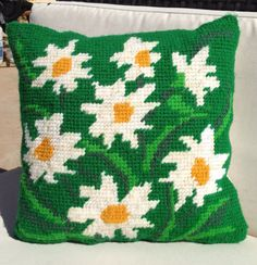 Mod Vintage Daisy Needlepoint Pillow by GailsVintageGarden on Etsy, $32.00