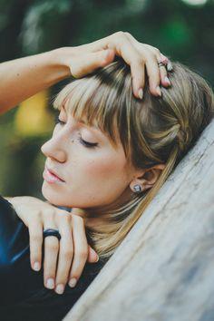 silver geo earrings by AMM Jewelry