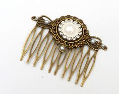 Hair comb with white pearl and clear rhinestones bridal hair jewelry wedding gift for her