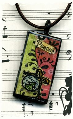 Altered domino pendant mixed media peace by lizziebusyhandmade, $9.00