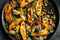 Spicy sweet potato and chickpea bake with lime tahini dressing #dairy-free #vegan #main