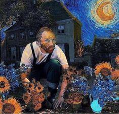 Van Gogh beautifies her garden - Art Painting Vincent Van Gogh, Van Gogh Arte, Art Visionnaire, Van Gogh Paintings, Art Van, Photocollage, Funny Art, Aesthetic Art, Art History