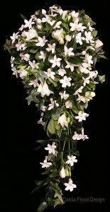 white cascade stephanotis star shaped wedding flower bridal party bouquet #weddingbouquets