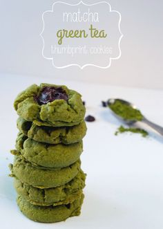 Matcha Green Tea Thumbprint Cookies   Plaid and Paleo