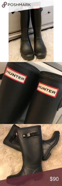 Hunter Boots Tall Black Mat Size 8 Hunter Boots  Huntress  Tall Black Mat  EUC  Women's size 8 Bought these for my daughter thinking the 8 would give her size 7.5 plenty of room for the fun socks! I absolutely adore these boots. I wish they fit me!  These are in excellent condition. Hunter Shoes Winter & Rain Boots