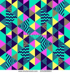 Trendy seamless pattern. Triangle hipster memphis art.