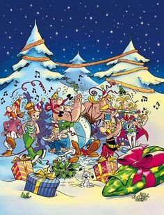 Bonne année 2014! Bd Comics, Funny Comics, Caricatures, Christmas Art, Christmas Decorations, Asterix E Obelix, Albert Uderzo, Lucky Luke, Christmas Cartoons