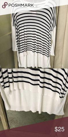 MNG Basics Black & White Striped Long Sweater MNG Basics Black & White Striped Long Sweater. 100% Viscose. No trades. MNG Basics  Sweaters