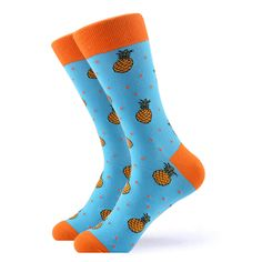 If you or someone you know loves pineapples then these socks are perfect them. Featuring orange pineapples and polka dots on a baby blue background, you will not be disappointed with these pineapple socks. Made with 80% Cotton, 17% Nylon, and 3% Spandex, these socks are perfect for US Size 7.5-12.5 feet. Orange Socks, Blue Socks, Polka Dot Socks, Polka Dots, Pineapple Socks, Pineapple Delight, Grumpy Cat Quotes, Baby Blue Background, Crazy Socks
