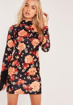 Release some flower power into new season in this mini dress, featuring a high neck, long sleeves, figure-structuring scuba fabric and sexy mini length. Seal the look with barely there heels and a matching clutch for sweet evening vibes.