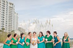 Amy and her maids, N.Barrett Photography. See this 75 guest beach wedding here... @intimateweddings.com #bridesmaids #beachwedding #destinationweddings