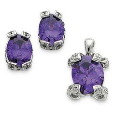 Sterling Silver Purple CZ Pendant & Earring