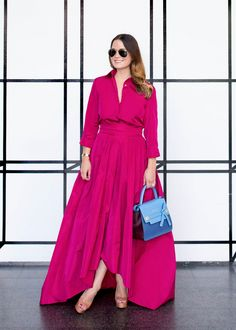 Escada pink gown and blue bag