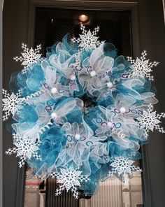 winter snow flake deco mesh wreath