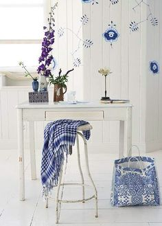 How to make wall decals from a Royal Copenhagen plate pattern. Love the stool and desk! Royal Copenhagen, Decor Crafts, Home Crafts, Provence Style, Blue And White China, Dark Blue, Light Blue, China Patterns, White Houses