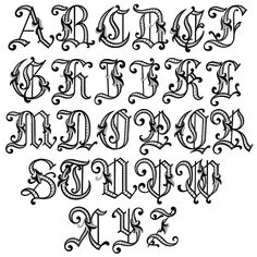 Fancy Letters Of The Alphabet Tattoo Fonts Old - - gif Alphabet A, Fonte Alphabet, Embroidery Alphabet, Embroidery Fonts, Fancy Lettering Alphabet, Embroidery Monogram, Hand Embroidery, Creative Lettering, Lettering Styles