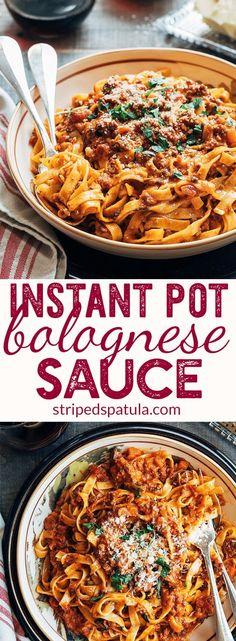 Instant Pot Bolognese Sauce | via @stripedspatula