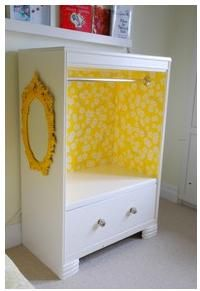 Turn Grace's dresser into something like this minus the bottom drawer. Put jewelry box and bins on top.