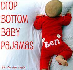 Drop bottom baby pajamas by me sew crazy