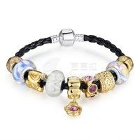 Barbara丨Murano glass Beads Leather Charm Bracelets & Gold Plated Bangles for Women (Size:18cm/20cm/21cm)