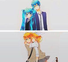 Miku x Kaito, Len x Rin (Vocaloid) gahhhh perfect!! <3