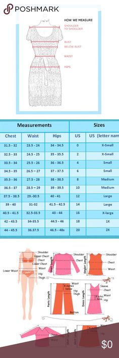 Will it fit? Be safe and measure! Provided here is a general chart size and measuring tools to help you ensure a good fit. Sizes vary by brand and body sizes vary, so the best way to make sure it fits, is to measure. When buying on-line I measure an item I currently own that fits me well (using the chart guide) and then compare those measurements to the ones listed in the description.  Measurements are provided in the description section on each of my listings. Hope this is helpful! Thank…