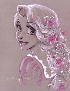 """Original Art.  Rapunzel"" Not sure of the artist but this is beautiful!"