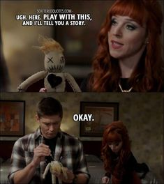 Quote from Supernatural │ Rowena: Ugh. Play with this, and I'll tell you a story. Dean Winchester: Okay. << my guess the voodoo doll is connected to Crowley Supernatural Imagines, Best Supernatural Quotes, Supernatural Series, Supernatural Bloopers, Supernatural Tattoo, Supernatural Wallpaper, Supernatural Rowena, Supernatural Season 12, Supernatural Pictures
