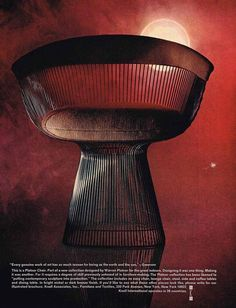 Ad for the Platner Chair in: New Yorker, Knoll International, USA. Via jumpingfrog. Furniture Ads, Furniture Catalog, Vintage Furniture, Knoll Chairs, Warren Platner, Mid Century Dining Chairs, Mid Century Modern Furniture, Chair Design, History