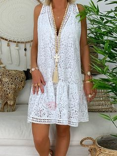 Women Summer Bohe White Dress Floral Lace Loose Sleeveless Flare Party Mini Dresses Sundress Summer Beach Dresses NEW vestidos White Boho Dress, White Mini Dress, Lace Dress, Prom Dress, Dress Ootd, Fringe Dress, Lace Maxi, Dress Party, Wedding Dresses