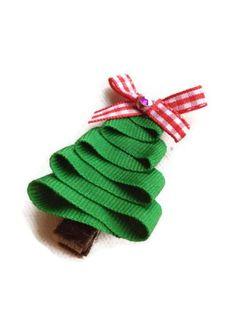 Green Christmas Tree Sculpture Hair Clip Clippy Red Bow on Brown Velvet Ribbon, Christmas Holiday Stocking Stuffer. $3.75, via Etsy.