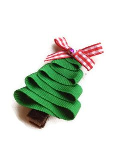 Green Christmas Tree Sculpture Hair Clip Clippy Red Bow on Brown Velvet Ribbon, Christmas Holiday Stocking Stuffer. $3.75, via Etsy.