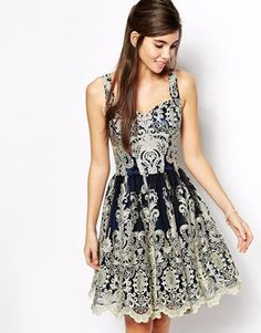 Enlarge Chi Chi London Sweetheart Prom Dress in Metallic Lace