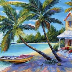 Paintings of Landscape, by Graham Denison - Palette Knife Artist. Cool Paintings, Beautiful Paintings, Landscape Paintings, Original Paintings, Bob Ross, Modern Impressionism, English Artists, Beach Pictures, Abstract Art