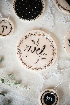Chrismas ideas (via Make Your Own Clay Ornaments - A Beautiful Mess) Could make cup markers.