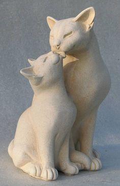 by lucia & bindu portland stone resin sculpture Sculptures Céramiques, Resin Sculpture, Ceramic Animals, Clay Animals, Portland Stone, Animal Gato, Clay Cats, Cat Statue, Cat Crafts