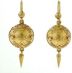Victorian Gold Etruscan Earrings