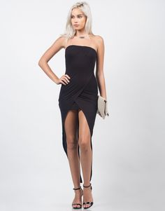 Slip into this lengthy Fishtail Tube Dress in black. This bodycon fitted dress is strapless, back zipper detail for closure, and drapey fishtail like slits on the back as well. This dress can be paire
