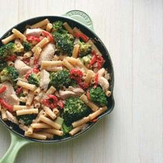 Skillet Ziti with Chicken and Broccoli. I love skillet meals...Follow me BECKY RATTO and I will follow you