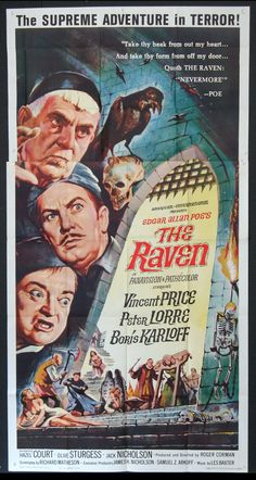 The Raven (1963)  Original three sheet size, 41x81 movie poster.