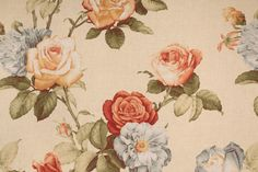 Floral/Vine Prints :: Braemore Rose Medley Printed Cotton Drapery Fabric in Vintage $8.95 per yard - FabricGuru.com: Discount and Wholesale Fabric, Upholstery Fabric, Drapery Fabric, Fabric Remnants