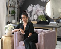 Actress Shay Mitchell and Decorist Elite Designer Stefani Stein chose The Shade Store's Ripple Fold Drapery in Linen Blend for Shay's chic office makeover. Shay Mitchell, Wedding Planner Office, Chic Office Decor, Office Inspo, Office Setup, Office Organization, Office Ideas, Office Makeover, Celebrity Houses