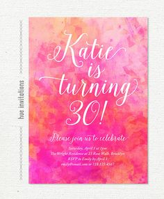 watercolor 30th birthday party invitation pink by hueinvitations