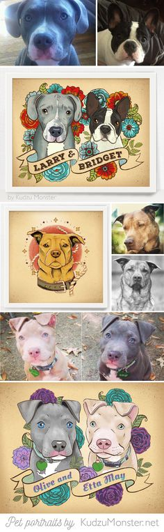 Custom pitbull portraits / pitbull tattoo design by KudzuMonster.net