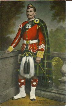 ::::::::::: Antique Photograph ::::::::::::  Handtinted photograph of a Drummer - Seaforth Highlanders.