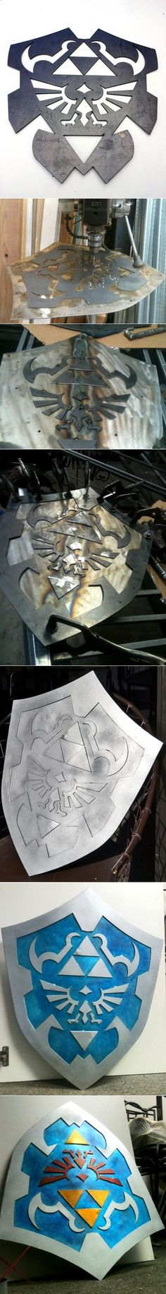 The process of making Link's hylian shield from Zelda : Ocarina of Time by manhattanphd and via @L a guarida geek - #DIY cosplay prop. <3