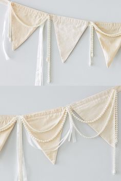 Ribbon and Pearls Bunting – Miss Rose Sister Violet Doily Bunting, Vintage Bunting, Lace Garland, Fabric Garland, Fabric Bunting, Bunting Garland, Bunting Ideas, Buntings, Garden Bunting